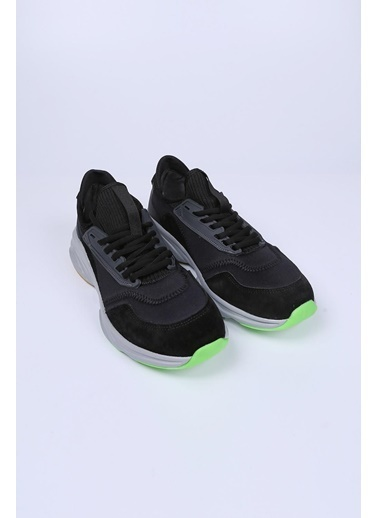 Krähe Siyah Sukuba-Hakiki Deri Sneaker Siyah
